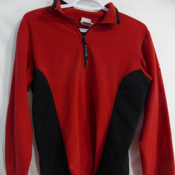 North Face red fleece partial zip pullover sweater